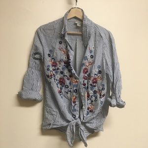 Style Co floral embroidered stripped button down